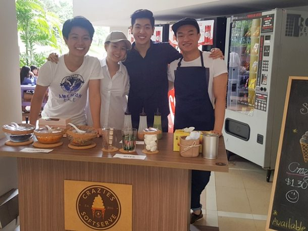 First business opening day! All smiles on their faces. From left: Jonathan, Denise, Nicholas and Michael.