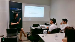 Eugenie Tan of Superheat sharing with Singapore Polytechnic's Entrepreneurship students on the Experiential Entrepreneurship Opportunity Offer.
