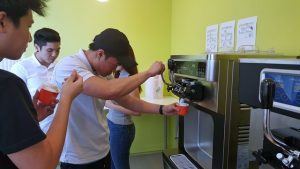 SP students getting a taste of using the soft serve machine
