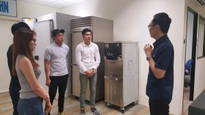 Singapore Polytechnic's Entrepreneurship four-member team meeting at Superheat the first time